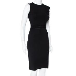 CH Carolina Herrera Black Knit Ruffle Detail Midi Dress XS 408426