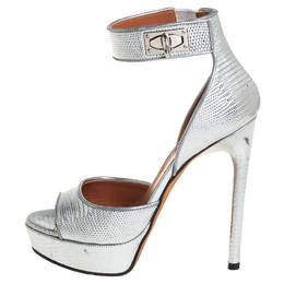 Givenchy Silver Lizard Embossed Leather Shark Lock Ankle Strap Sandals Size 36 408693