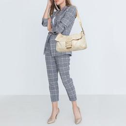 Fendi White Soft Leather Giant Baguette Whipstitch Shoulder Bag 408195