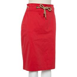 CH Carolina Herrera Vintage Red Cotton Waist Tie Detail Knee Length Skirt L 408153