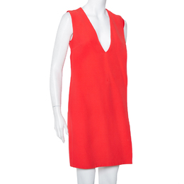 Christian Dior Red Crepe Plisse Detail Sleeveless Shift Dress M 408528