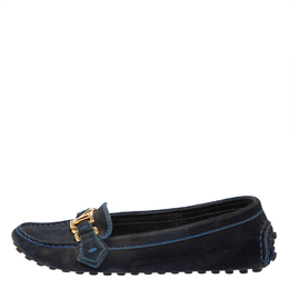 Louis Vuitton Blue Suede Logo Slip On Loafers Size 36.5 408986