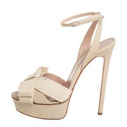 Casadei Cream Leather Flora Aiko Platform Ankle Strap Sandals Size 39 409604