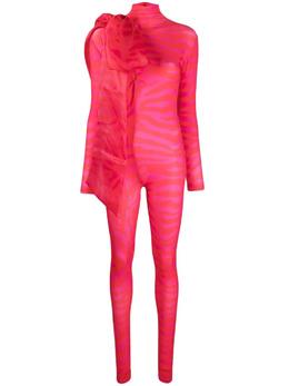 Atu Body Couture комбинезон с крупным бантом и зебровым принтом ATS21099