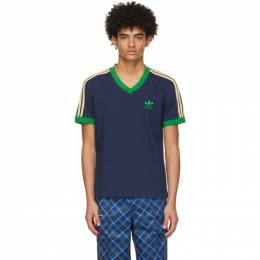 Wales Bonner Navy adidas Edition Striped V-Neck T-Shirt WB 70S V-NECK