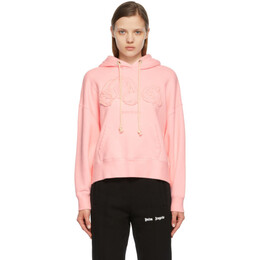Palm Angels Pink Embroidered Bear Hoodie PWBB023S21FLE0013434