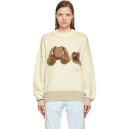 Palm Angels Off-White Wool Bear Sweater PWHE016S21KNI0020360