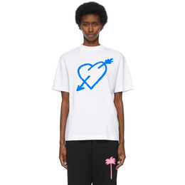 Palm Angels White Pierced Heart T-Shirt PMAA001S21JER0030145