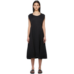 Issey Miyake Black Temporary Room Pleats Solid Dress IM17FH603