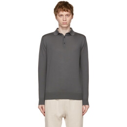 Loro Piana Grey Cashmere Long Sleeve Polo FAI2551