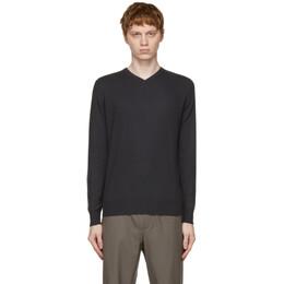 Loro Piana Black Cashmere Superlight V-Neck Sweater FAG1185