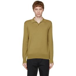 Loro Piana Green Buttonless Long Sleeve Polo FAL5279