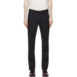 Loro Piana Navy Wool Slim Pantaflat Trousers FAL6168