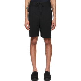 Homme Plisse Issey Miyake Black Drawstring Pleats Shorts HP16JF133