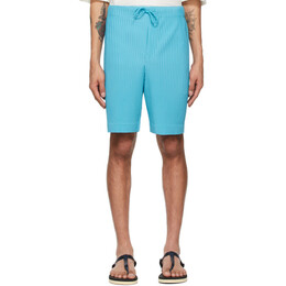 Homme Plisse Issey Miyake Blue Drawstring Pleats Shorts HP16JF133