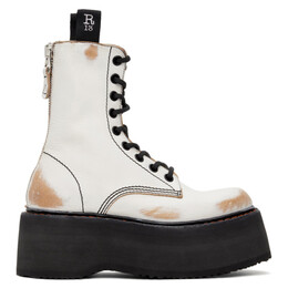 R13 White and Tan Stacked Platform Boots R13S0019-004