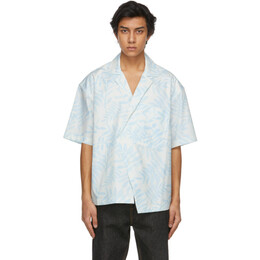 Jacquemus White and Blue Printed La Chemise Novi Short Sleeve Shirt 215SH10-215 113143