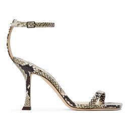 Jimmy Choo Black and Taupe Snake Marin 90 Heeled Sandals MARIN 90 NKE