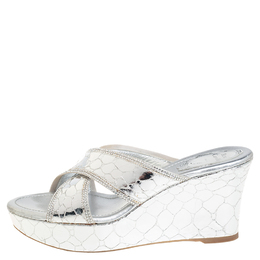 Rene Caovilla Metallic Silver Textured Leather Wedge Platform Slide Sandals Size 37 407355