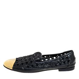 Giuseppe Zanotti Design Gold Leather Cap Toe Slip On Loafers Size 37 409266