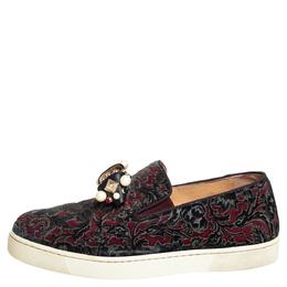 Christian Louboutin Burgundy/Black Printed Velvet Jewel Slip On Sneakers Size 37 409173