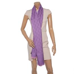 Gucci Lilac GG Guccissima Jacquard Wool & Silk Scarf 407505