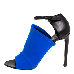 Balenciaga Blue/Black Neoprene And Leather Glove Ankle Strap Sandals Size 36 409581