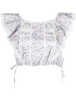 Ermanno Scervino укороченная блузка с цветочным принтом TO06