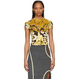Eckhaus Latta Black and Gold Shrunk T-Shirt 304-EL-SS21