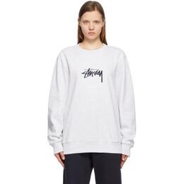 Stussy Grey Embroidered Stock Sweatshirt 118419