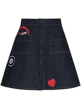 Natasha Zinko юбка с застежкой на пуговицах SS2130345DENIM
