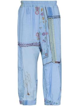 By Walid укороченные брюки в технике пэчворк с вышивкой 131121M