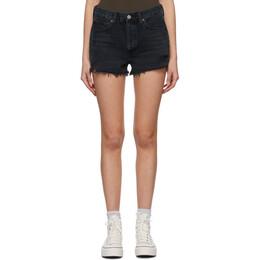 Agolde Black Denim Parker Vintage Cut-Off Shorts A026B-1157