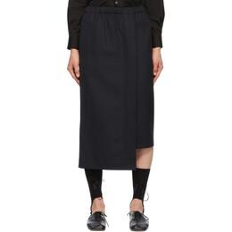 Comme Des Garcons Comme Des Garcons Navy Wool Asymmetric Skirt RG-S008-051