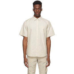 Norse Projects Beige Micro Texture Osvald Short Sleeve Shirt N40-0548