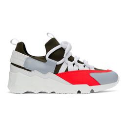 Pierre Hardy Khaki and Pink Trek Comet Sneakers LX01X