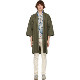 Naked And Famous Denim SSENSE Exclusive Green Rinsed Oxford Overcoat SSE258567