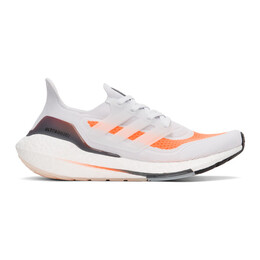 Adidas Originals Grey and Orange Ultraboost 21 Sneakers FY0375