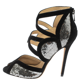 Jimmy Choo Silver/Black Suede and Sequins Tempest Sandals Size 38.5 410115