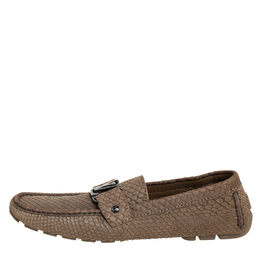 Louis Vuitton Brown Python Leather Monte Carlo Slip On Loafers Size 41.5 410313