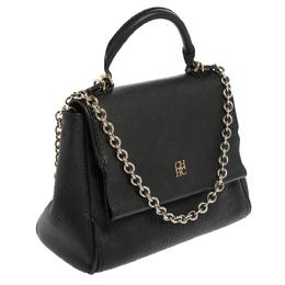 Carolina Herrera Black Leather Minuetto Flap Top Handle Bag 410133