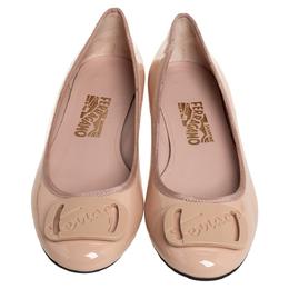 Salvatore Ferragamo Beige Leather Slip On Ballet Flats Size 39 410323
