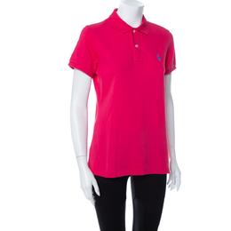 Ralph Lauren Pink Cotton Pique Skinny Polo T-Shirt L 410997