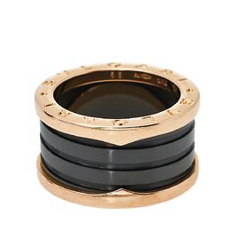 Bvlgari B.Zero1 Black Ceramic 18K Rose Gold 4-band Ring Size 53 410847