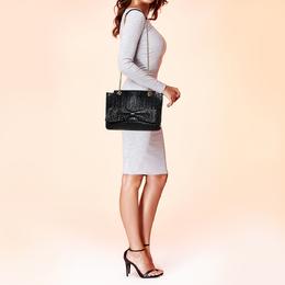 Carolina Herrera Black Studded Leather Audrey Shoulder Bag 410979