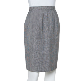 Christian Dior Grey Wool High Waist Pencil Skirt M 411026