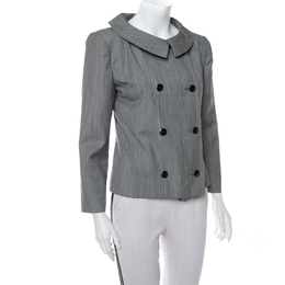 Christian Dior Grey Wool Double Breasted Vintage Blazer M 411236