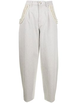 Amen джинсы свободного кроя с искусственным жемчугом AMS21605