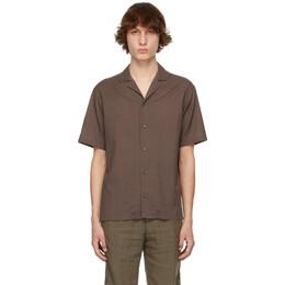 Z Zegna Brown Twill Short Sleeve Shirt 905032-ZCOB2