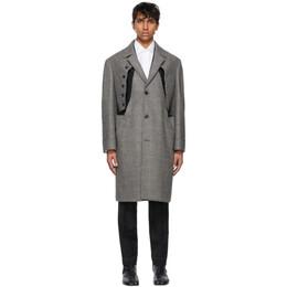 Maison Margiela Black Wool Check Cut-Out Coat S30AA0169 S53964